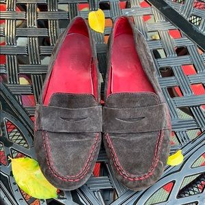 Chocolate brown suede with red accent loafers